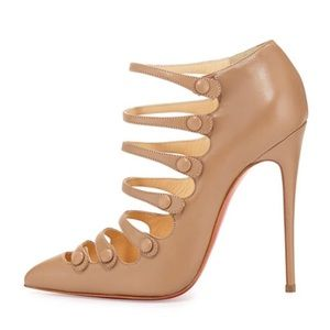 Christian Louboutin Vienanna 120 Nude Leather Strappy Pumps Bootie Heels